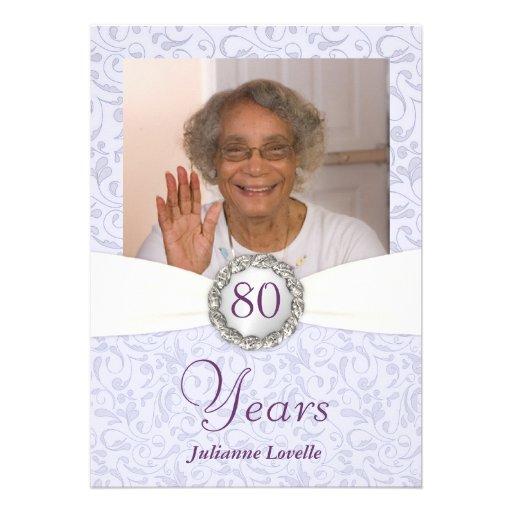 80th Birthday Photo Invitations Lavender Damask