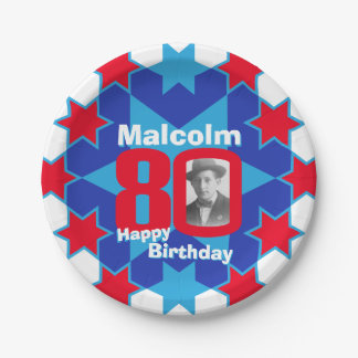 80th birthday photo name blue star paper plate