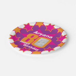 80th birthday photo name pink star paper plate
