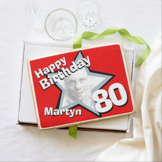 80th birthday photo star black red shortbread jumbo shortbread cookie