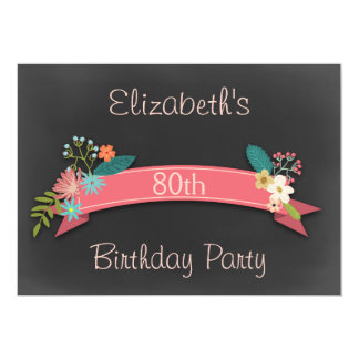 80th Birthday Pink Banner Flowers Chalkboard 5x7 Paper Invitation Card
