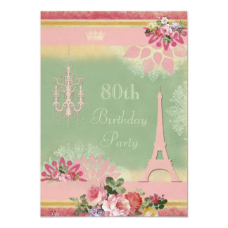 80th Birthday Pink Eiffel Tower and Chandelier 5x7 Paper Invitation Card