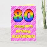 [ Thumbnail: 80th Birthday: Pink Stripes & Hearts, Rainbow # 80 Card ]