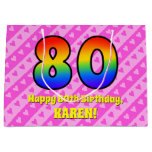 [ Thumbnail: 80th Birthday: Pink Stripes & Hearts, Rainbow # 80 Gift Bag ]