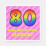 [ Thumbnail: 80th Birthday: Pink Stripes & Hearts, Rainbow # 80 Napkins ]