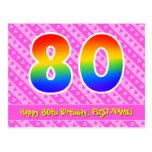 [ Thumbnail: 80th Birthday: Pink Stripes & Hearts, Rainbow 80 Postcard ]
