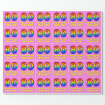 [ Thumbnail: 80th Birthday: Pink Stripes & Hearts, Rainbow # 80 Wrapping Paper ]