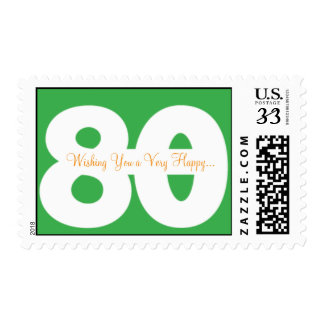 80th birthday postcard stamps - in green