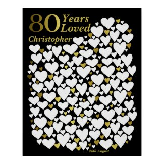 80th Birthday Poster -80 Years Loved