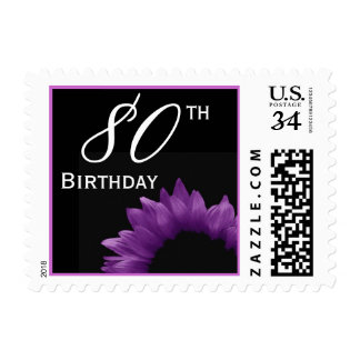 80th Birthday Purple Flower Petals V02 Postage Stamp