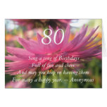 80th Birthday Quote Pink Paper Daisy Card