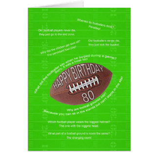 80th birthday, really bad football jokes greeting card