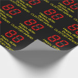 "[ Thumbnail: 80th Birthday: Red Digital Clock Style ""80"" + Name Wrapping Paper ]"