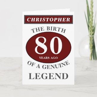80th Birthday Red Genuine Legend Add Your Name Card
