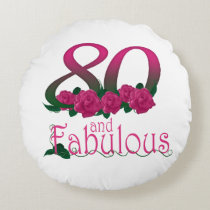 "80th birthday Round Throw Pillow (16"")"