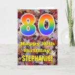 "[ Thumbnail: 80th Birthday; Rustic Autumn Leaves; Rainbow ""80"" Card ]"