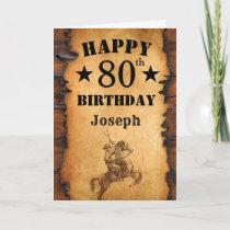 80th Birthday Rustic Country Western Cowboy Horse Card