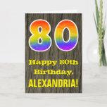 "[ Thumbnail: 80th Birthday: Rustic Faux Wood Look, Rainbow ""80"" Card ]"