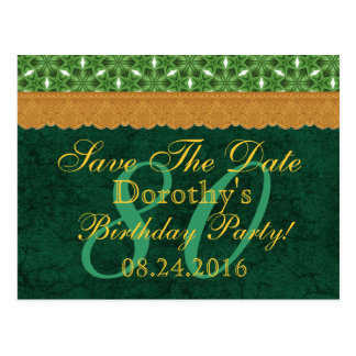80th Birthday Save the Date Green and Gold Lace 03 Postcard
