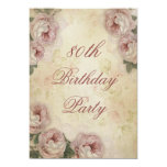 80th Birthday Shabby Chic Roses and Lace Card