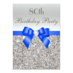 80th Birthday Silver Sequin Royal Blue Bow Diamond 5x7 Paper Invitation Card