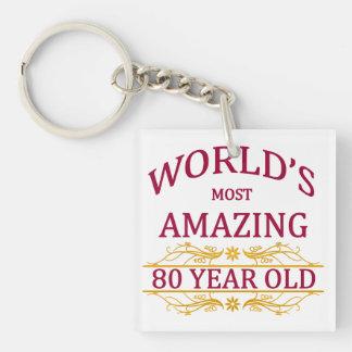 80th. Birthday Single-Sided Square Acrylic Keychain