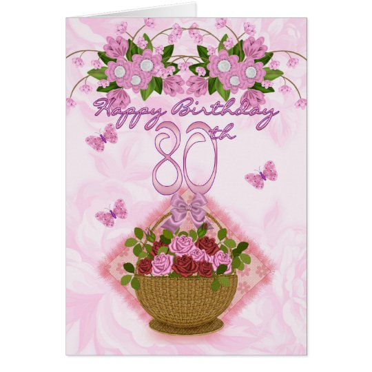 80th Birthday Special Lady Roses And Flowers 80 Card