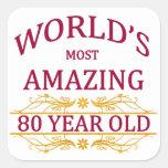 80th. Birthday Square Sticker