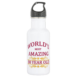 80th. Birthday Stainless Steel Water Bottle