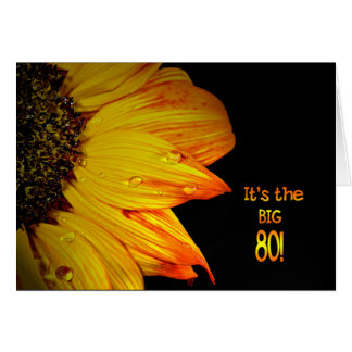 80th Birthday Sunflower Greeting Cards