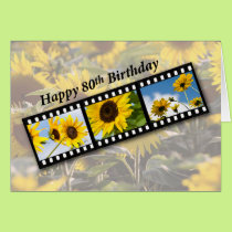 80th Birthday Sunflower Filmstrip Card