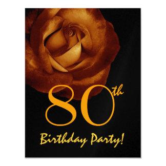 80th Birthday Template Gold Rose Metallic W245 Invites