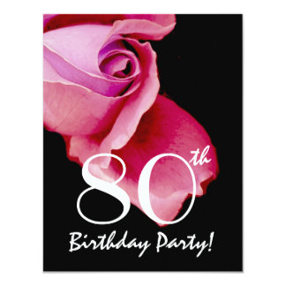 80th Birthday Template Purple and Blue Rose Y321 4.25x5.5 Paper Invitation Card