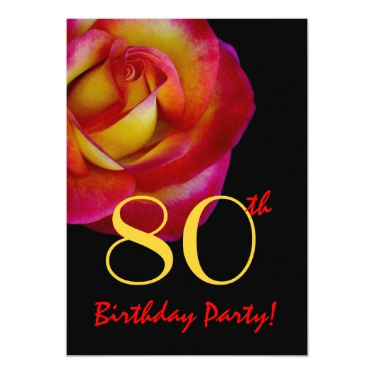 80th Birthday Template - Red and Yellow Rose