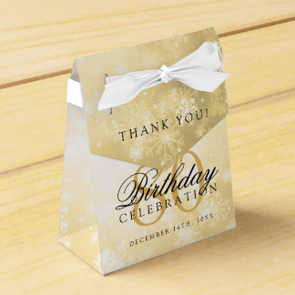 80th Birthday Thank You Gold Winter Wonderland Favor Box