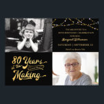 """80th Birthday Then & Now Photos String Lights Invitation<br><div class=""""desc"""">Invite your guests with this 80th birthday party invitation in black and gold with string lights featuring a retro typography design stating 80 YEARS IN THE MAKING which integrates their birth year within the design. Include THEN and NOW photos for a fun invitation. Party invitation details are on the back...</div>"""