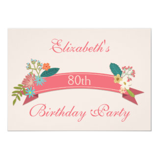 80th Birthday Vintage Flowers Pink Banner Card