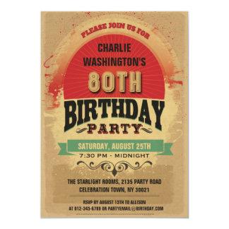 80th Birthday Vintage Typography Grunge 5x7 Paper Invitation Card