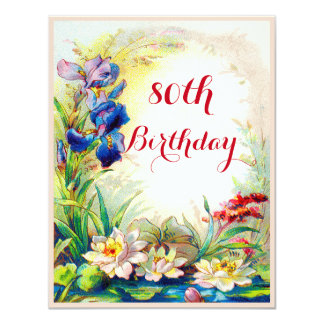 80th Birthday Vintage Waterlilies and Iris Flowers 4.25x5.5 Paper Invitation Card