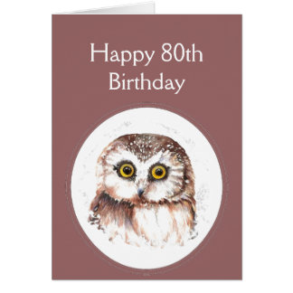 80th Birthday Who Loves You, Cute Owl Humour Card