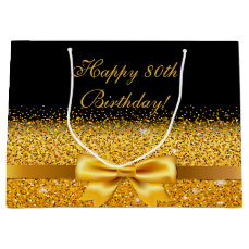 80th birthday with gold bow on chic black large gift bag