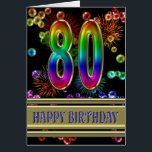 """80th Birthday with rainbow bubbles and fireworks Card<br><div class=""""desc"""">A burst of color with this stunning birthday card. Fireworks and bubbles in rainbow colors,  and a fine gold background for the greeting.</div>"""