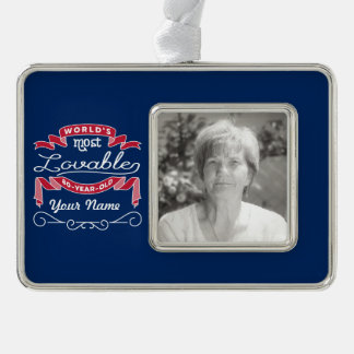 80th Birthday World's Most Lovable 80-Year-Old Silver Plated Framed Ornament