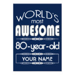 80th Birthday Worlds Best Fabulous Dark Blue Card