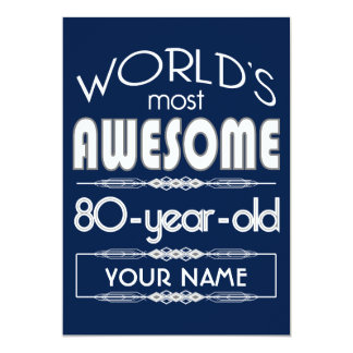 80th Birthday Worlds Best Fabulous Dark Blue Card