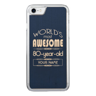 80th Birthday Worlds Best Fabulous Dark Blue Carved iPhone 8/7 Case
