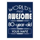 80th Birthday Worlds Best Fabulous Dark Blue 5x7 Paper Invitation Card
