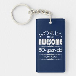 80th Birthday Worlds Best Fabulous Dark Blue Keychain