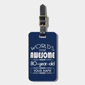 80th Birthday Worlds Best Fabulous Dark Blue Tag For Luggage