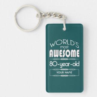 80th Birthday Worlds Best Fabulous Dark Green Keychain
